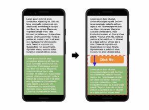 Cumulative Layout Shift (CLS) veranschaulicht anhand von zwei Screenshots in einem Ladeprozess