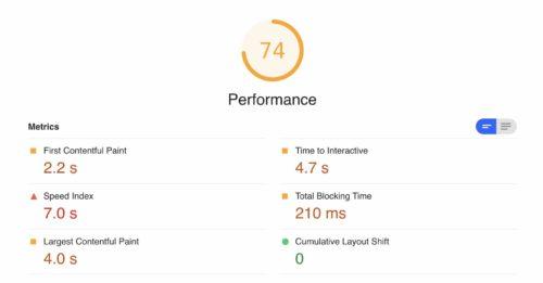 Google Core Web Vitals Ergebnisse von der Seite web.dev